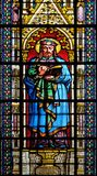 Saint Prosper. Stained glass window in the Basilica of Saint Clotilde in Paris, France stock images