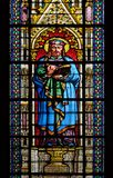 Saint Prosper. Stained glass window in the Basilica of Saint Clotilde in Paris, France stock image