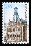 Saint Quentin. The City Hall, Tourism serie, circa 1967. MOSCOW, RUSSIA - MAY 10, 2018: A stamp printed in France shows Saint Quentin. The City Hall, Tourism Royalty Free Stock Image