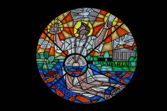 Saint Quirinus. Stained glass from  church, Sisak, Croatia Stock Images