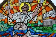 Saint Quirinus. Stained glass from  church, Sisak, Croatia Stock Photography