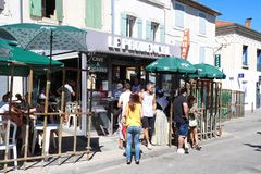 View of people in Provencal cafe , Saint Remy en Provence, France royalty free stock photography