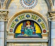 Saint Reparata Christian Martyr Mosaic Facade Cathedral Pisa AIE fotos de stock