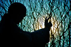 Saint Richard's statue silhouetted Chichester Stock Images