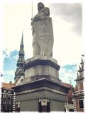 Saint Roland statue in town hall square in Riga Latvia Royalty Free Stock Images