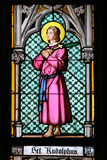 Saint Rudolph - Stained Glass in Prague Cathedral Stock Photo