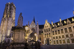Saint Rumbold's Cathedral in Mechelen in Belgium. During Christmas Stock Images