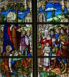 Saint Rumbold - verre souillé dans la cathédrale de Mechelen Photographie stock libre de droits