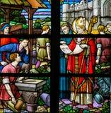 Saint Rumbold - verre souillé dans la cathédrale de Mechelen Photos libres de droits
