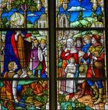 Saint Rumbold - verre souillé dans la cathédrale de Mechelen Images libres de droits