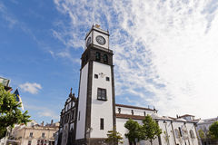 Saint Sabastian church with clock tower in Ponta Delgada on Sao Miguel Island in Azores, Portugal. Royalty Free Stock Images