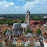 Saint Salvator Cathedral in Bruges, Belgium. Top view of the Saint Salvator Cathedral in Bruges, Belgium Stock Photography