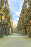 Saint or San Galgano uncovered Abbey Church ruins. Tuscany, Italy Stock Photo