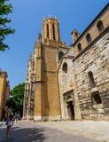 Saint-Sauveur cathedral, emblematic Aix-en-Provence building. This cathedral, one of Aix-en-Provence symbols, is a mix of styles architecture. Roman style part stock photo