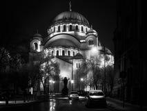 Saint Sava in Belgrade in black and white. Belgrade, Serbia -January 26, 2017: Saint Sava Cathedral at night in the center of Belgrade, Serbia in black and white Stock Photo