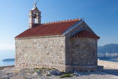 Saint Sava Church on Island Of Sveti Stefan Stock Image