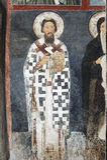 Saint Sava, first Serbian archbishop, fresco. The oldest preserved portrait of Saint Sava, first Serbian archbishop, fresco from the east wall of the inner Stock Photo