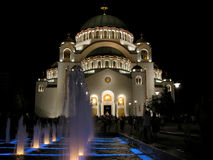 Saint Sava Temple. Saint Sava Serbian orthodox Church and fountain at nighttime stock photo