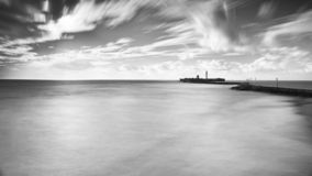 Saint Sebastian Castle Long Exposure Cadiz Spain royalty free stock images