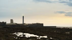 Saint Sebastian Lighthouse Cadiz Spain imagem de stock
