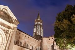 Saint sernin basilica at night in Toulouse Royalty Free Stock Photos