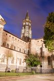 Saint sernin basilica at night with trees in Toulouse Royalty Free Stock Photography
