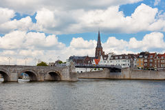 Saint Servatius Bridge in Maastricht. Saint Servatius Bridge over the Maas river in Maastricht, Netherlands; GPS information is in the file Royalty Free Stock Photos