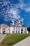 Saint Sophia cathedral against the cloudy sky, Russia. Saint Sophia cathedral in Kremlin, Great Novgorod, Russia Royalty Free Stock Images