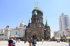 Saint Sophia Cathedral Harbin China. Tourists taking pictures and visiting within and around Saint Sophia church in Harbin Heilongjiang province China on an Royalty Free Stock Photo