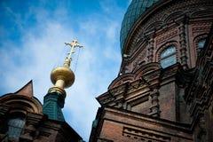 Saint Sophia Cathedral in Harbin. Sophia church square, Harbin, China, sacred religion stock image