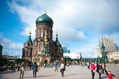 Saint Sophia Cathedral in Harbin. Sophia church square, Harbin, China, sacred religion Royalty Free Stock Images