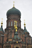 Saint Sophia Cathedral Harbin. Saint Sophia Cathedral in Harbin Heilongjiang province China on an overcast gray sky day stock images