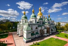 Saint Sophia Cathedral In Kiev Is An Outstanding Architectural Monument Of Kievan Rus. Stock Photo