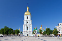 Saint Sophia Cathedral in Kiev. View on bell tower and Saint Sophia Cathedral through Sophia square in Kiev, Ukraine Stock Photography
