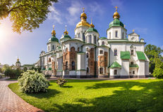 Saint Sophia Cathedral in Kiev. In a bright sunny summer morning royalty free stock photography