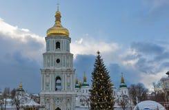 Saint Sophia Cathedral in Kiev, Ukraine. Christmas time. Saint Sophia Cathedral in Kiev, Ukraine. Christmas flashlights, tree and decorations Stock Image