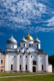 Saint Sophia cathedral in Kremlin against the cloudy sky, Great Novgorod, Russia. Saint Sophia cathedral in Kremlin, Great Novgorod, Russia Royalty Free Stock Photography