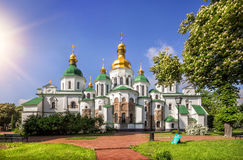 Saint Sophia Cathedral in the rays of light day. In May in Kiev royalty free stock images