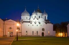 Saint Sophia Cathedral in september at night. Veliky Novgorod Stock Images