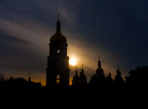 Saint Sophia Cathedral at sunset. Kiev. Ukraine stock photos