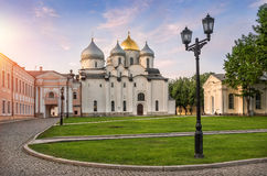 Saint Sophia Cathedral. In Veliky Novgorod with a dove on the cross Stock Photo