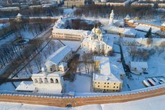 Saint Sophia Cathedral, Veliky Novgorod on a January afternoon shooting from a quadcopter. Russia royalty free stock photo
