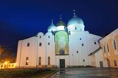Saint Sophia Cathedral in Veliky Novgorod by night stock photos