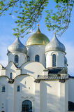 Saint Sophia Cathedral in Veliky Novgorod, Russia at summer sunset Royalty Free Stock Images