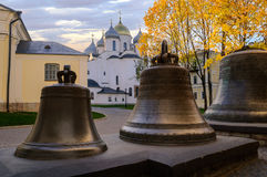 Saint Sophia Cathedral in Veliky Novgorod, Russia. Saint Sophia Cathedral and veche bells in Veliky Novgorod at sunset stock image