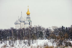 Saint Sophia Cathedral in Vologda. The bell tower and Saint Sophia Cathedral with snow in Vologda Royalty Free Stock Photography