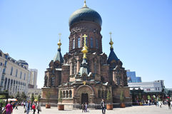 Saint Sophia Church Harbin China. Saint Sophia Church square, Harbin China.  Tourists taking pictures and visiting with and around Saint Sophia church in Harbin Stock Images