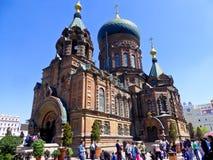 Saint Sophia Church of Harbin. Tourists traveling Saint Sophia Church of Harbin in Heilongjiang province China royalty free stock images