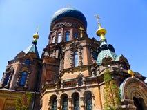 Saint Sophia Church of Harbin. Weathered Saint Sophia Church of Harbin appearance in Heilongjiang province China stock photo