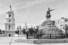 Saint Sophia Church in Kiev. Black and white photo of Saint Sophia Church and Bohdan Khmelnytsky statue in Kiev, Ukraine royalty free stock image